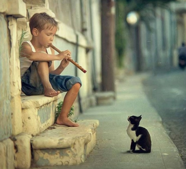boy_playing_flute_to_cat